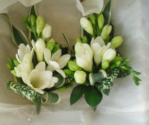 Ivory Freesia Corsages